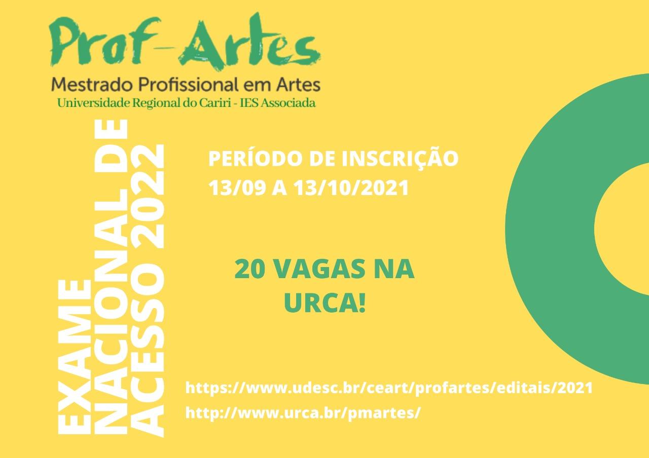 Seleção para Mestrado Profissional em Artes – PROFARTES 2022